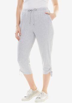 Sport Knit Side-Cinch Capri, HEATHER GREY, hi-res