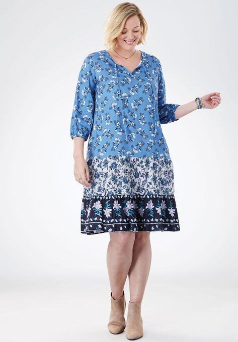 Mixed Print Tiered Dress Plus Size Short Dresses Woman Within