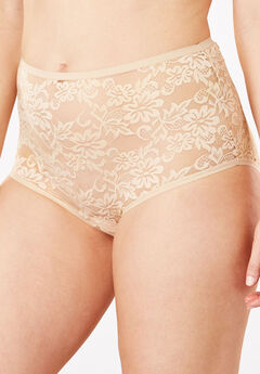 Allover Lace Full-Cut Brief Panty by Comfort Choice®, NUDE