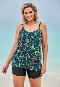 Blouson Tankini Top with Shirring by Swim 365,