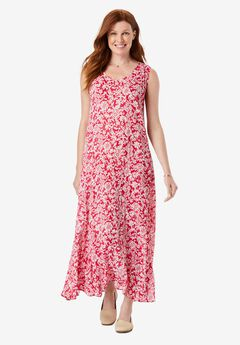 Sleeveless Crinkle A-Line Dress, CRYSTAL BERRY TILE FLORAL