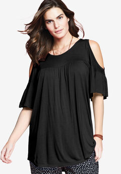 Flare Sleeve Cutout Cold-Shoulder Top by Chelsea Studio®,