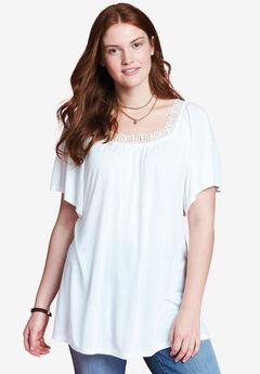 Flutter sleeve square neck tunic by Chelsea Studio®, CLOUD DANCER, hi-res