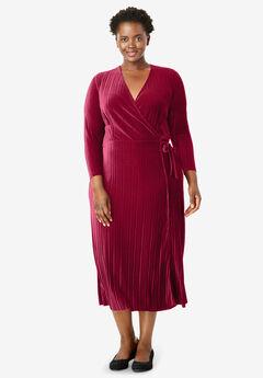 Crinkle Velour Faux Wrap Dress, RICH BURGUNDY