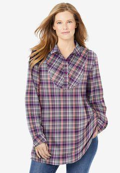 Henley Bib Flannel Shirt, SWEET PLUM PLAID