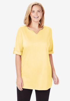 Perfect Roll-Tab Sleeve Notch Neck Tunic,