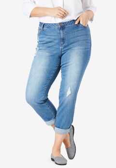 Girlfriend Stretch Jean, DISTRESSED