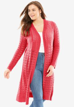 Pointelle cardigan sweater duster, CORAL RED, hi-res