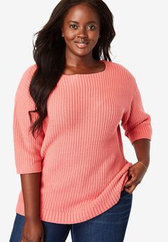 Three-Quarter Sleeve Pullover Sweater,