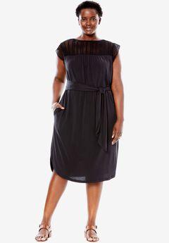 Crochet Sleeve Tee Dress, BLACK, hi-res