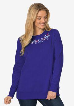 Fleece Holiday Sweatshirt, ULTRA BLUE PRETTY CARDINALS