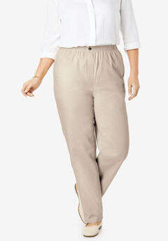 Elastic-Waist Cotton Straight Leg Pant, NATURAL KHAKI