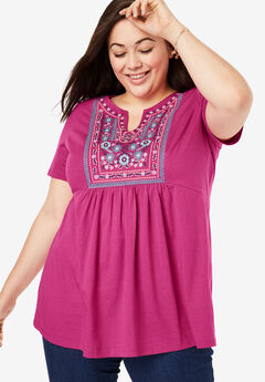 Empire Waist Embroidered-Bib Tee,