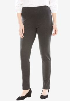 Ponte Knit Seamed Legging, HEATHER CHARCOAL, hi-res