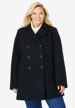 Wool-blend double-breasted peacoat, BLACK, hi-res