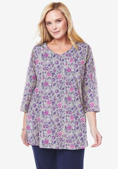 Perfect Printed Three-Quarter-Sleeve V-Neck Tunic,