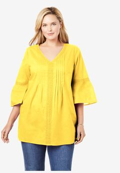 Crochet-Trim Pintuck Tunic, PRIMROSE YELLOW