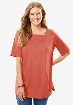 Perfect Square Neck Tee, DUSTY CORAL, hi-res