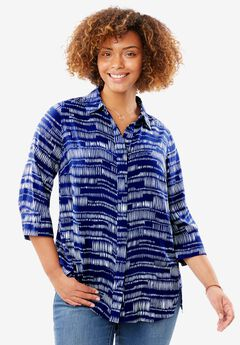 Elbow sleeve A-line blouse, DARK COBALT BRUSHSTROKE STRIPE, hi-res