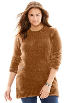 Chenille Crew Neck Sweater,