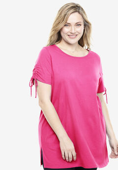 Perfect Ruched-Sleeve Tunic, RASPBERRY SORBET