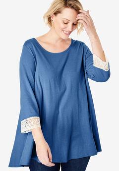 Crochet-Sleeve Tunic, ROYAL NAVY