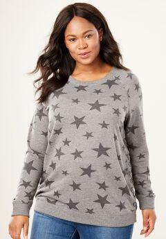 Vintage Wash Side Lace-Up Sweatshirt, MEDIUM HEATHER GREY BLACK STARS, hi-res