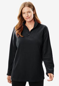 Microfleece Quarter-Zip Pullover, BLACK