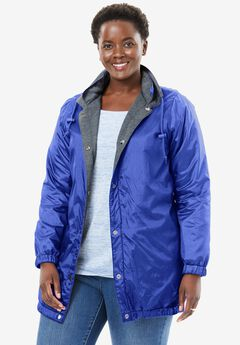 Reversible Jacket,water-resistant nylon to cozy fleece, ROYAL PERIWINKLE MEDIUM HEATHER GREY, hi-res
