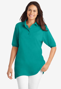 Elbow-Sleeve Polo Shirt,