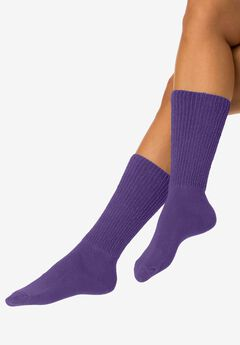 2-Pair Open Weave Extra Wide Socks by Comfort Choice®, ROYAL GRAPE, hi-res
