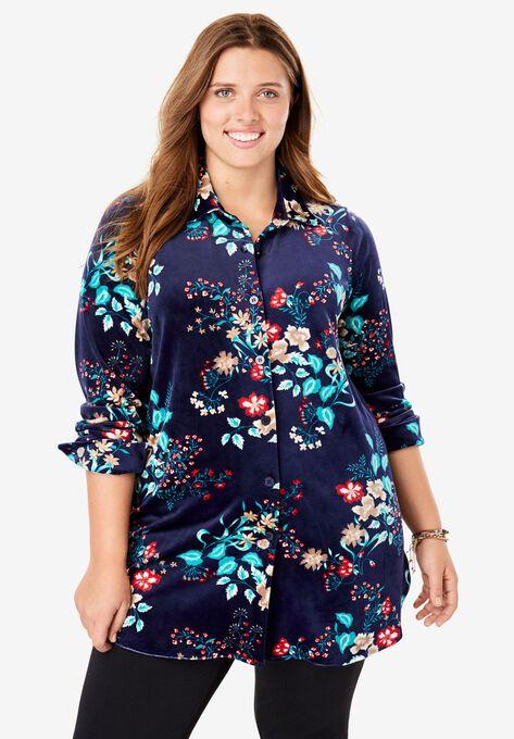Velour Shirt Plus Size Shirts Blouses Woman Within