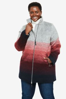 Multicolor Brushed Wool Coat, OMBRE