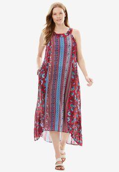 Sleeveless High-Low Crinkle Dress, RUBY ROSE PRINT, hi-res