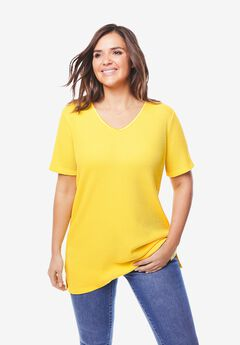 V-Neck Thermal Tee with Satin Trim,