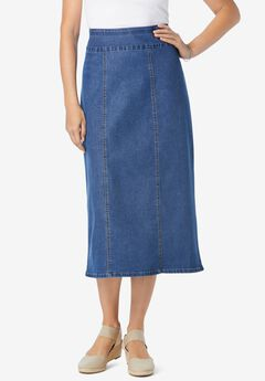 Pull-On Denim Skirt,