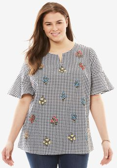 Flutter Sleeve Embroidered Seersucker Tunic, GINGHAM EMBROIDERED, hi-res