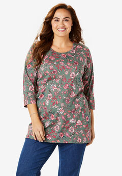 Perfect Printed Three-Quarter Sleeve Tunic, PINE MEADOW FLORAL