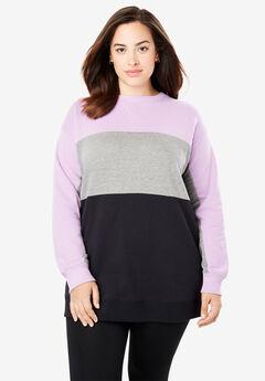 Color Blocked Fleece Sweatshirt, PASTEL LILAC MEDIUM HEATHER GREY BLACK