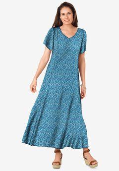 Crinkle Dress, BLUE TEAL CHEVRON