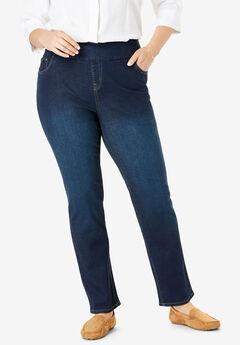 Straight Leg Smooth Waist Jean, INDIGO SANDED