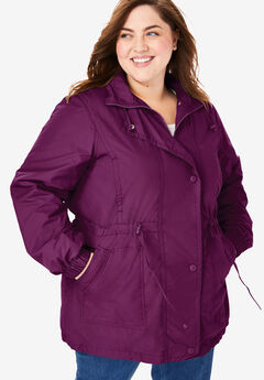 Fleece-Lined Taslon® Anorak, DARK BERRY