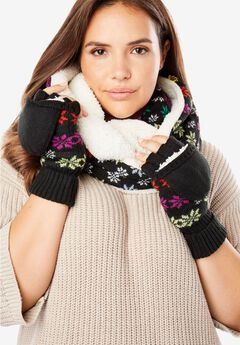 Cozy Sherpa-Lined Scarf and Glove Set,
