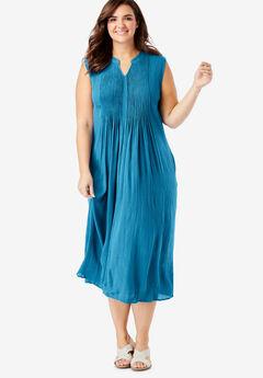 Sleeveless Pintuck Crinkle Dress, RIVER BLUE