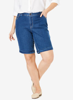 Stretch Jean Bermuda Short, MEDIUM STONEWASH