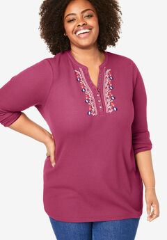 Embroidered Thermal Knit V-Neck Henley, DEEP CRANBERRY FOLK EMBROIDERY