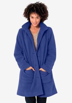 Hooded A-Line Fleece Coat,