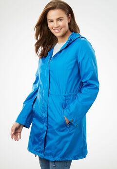 Packable Anorak Raincoat, BRIGHT COBALT