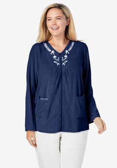 Embroidered Terry Bed Jacket, EVENING BLUE