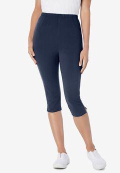 Stretch Cotton Capri Legging, NAVY